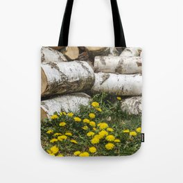 Dead Birch Tree And Living Dandelion Tote Bag