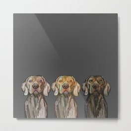 Triple Hunting Dogs in Dark Metal Print
