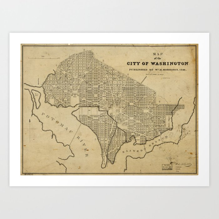 Map of the City of Washington, D.C. (1840) Art Print by thearts