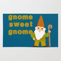 gnome Area & Throw Rugs featuring gnome sweet gnome by Elephant Trunk Studio