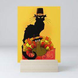 Thanksgiving Le Chat Noir With Turkey Pilgrim Mini Art Print