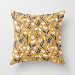 Mustard Floral Pattern Throw Pillow