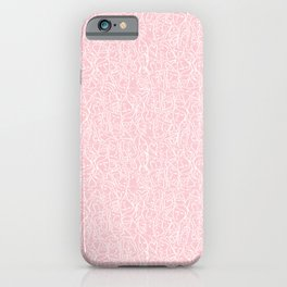 Elios Shirt Faces with Valentine Hearts in White Outlines on Blush Pink iPhone Case