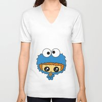 cookie monster V-neck T-shirts featuring Cookie Monster Boy  by aldarwish