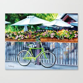 Green bike Canvas Print