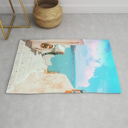 Surreal Greece, Tropical Travel Scenic Photography, Colorful Pastel Landscape Bohemian Architecture Rug