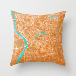 Springfield, MA, USA, Gold, Blue, City, Map Throw Pillow