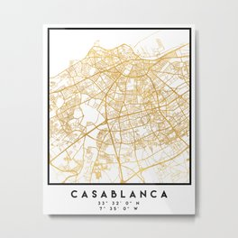 CASABLANCA MOROCCO CITY STREET MAP ART Metal Print