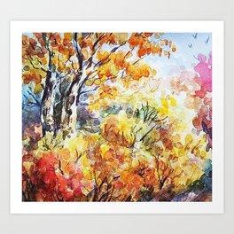 Watercolour Woods/ Indian Summer Forest illustraion • watercolor study • sketch • romantic landscape Art Print
