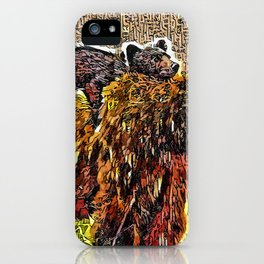 Mama bear carries her cub iPhone Case