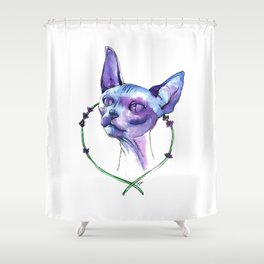 Lavender Sphynx - Full Color Watercolor Painting Shower Curtain