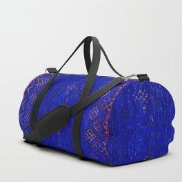 V11 Calm Blue Printed of Original Traditional Moroccan Carpet Duffle Bag