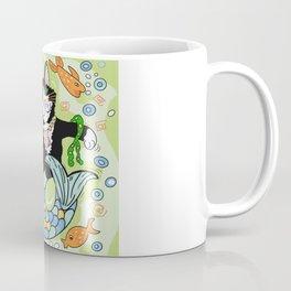 Mermaid cat fantasy art green Coffee Mug