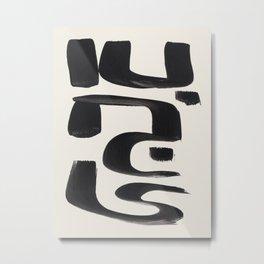 Mid Century Modern Minimalist Abstract Art Brush Strokes Black & White Ink Art Arabic Letters Metal Print