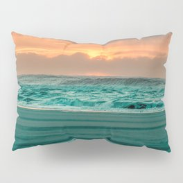 Turquoise Ocean Pink Sunset Pillow Sham