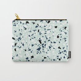 'Speckle Party' Navy Mint Black White Dots Speckle Terrazzo Pattern Carry-All Pouch