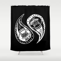 ying yang Shower Curtains featuring Ying Yang - Fox Nerd by Adamzworld