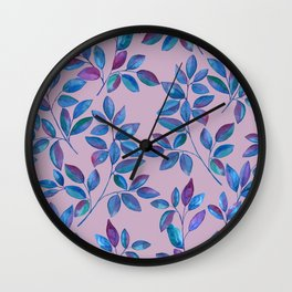 Blue watercolor leaves allover on pink Wall Clock