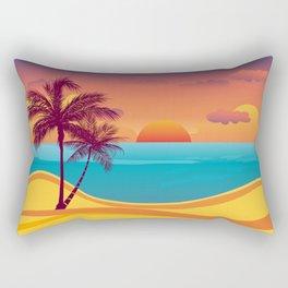 Tropical Beach Sunset Rectangular Pillow