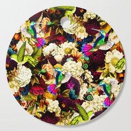 hummingbird paradise ethereal autumn flower pattern std Cutting Board