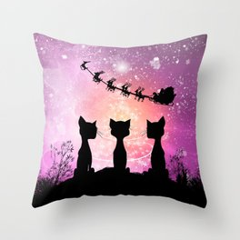 Cats looks in the sky to Santa Claus Throw Pillow