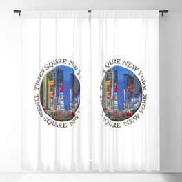 Times Square Broadway (New York Badge Emblem on white) Blackout Curtain
