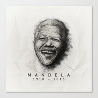 mandela Canvas Prints featuring Mandela by Andre Roquette