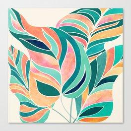Rise Up / Tropical Leaf Illustration Canvas Print