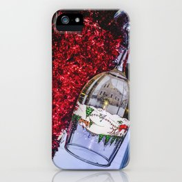 House Reflection in Holiday Wine Glass iPhone Case