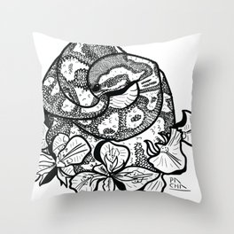 Python and iris flowers Throw Pillow