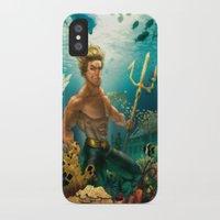 aquaman iPhone & iPod Cases featuring Aquaman Black Lagoon (Dark Water Version)  by Brian Hollins art