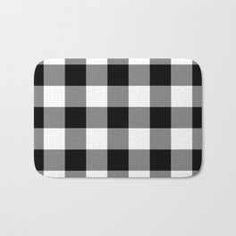 Black and White Buffalo Plaid Bath Mat
