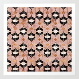 Rose Gold Art Deco Flower Pattern Art Print