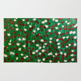 Red and White Flowers on Green Grass Rug