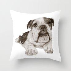 A Bulldog Puppy :: Brindle  Throw Pillow