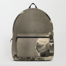Beauty and the Crystal Ball black and white photograph Backpack