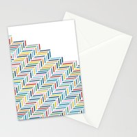 Herringbone Color Part Stationery Cards