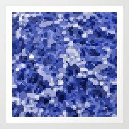 Modern terrazzo style blue camouflage pattern Art Print