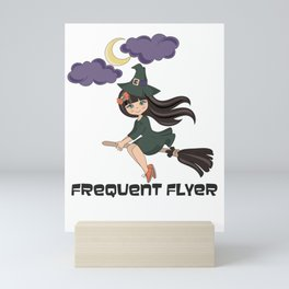 Frequent flyer funny Halloween design with a witch & a broom Mini Art Print