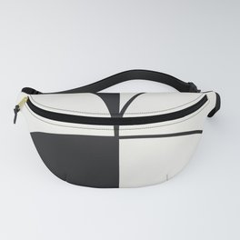 Diamond Series Round Solid Lines Charcoal on White Fanny Pack