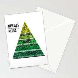 Maslow's Hierarchy of Needs, Bright Greens Stationery Cards