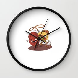 Illustration Cowboy Burger Patti Wall Clock