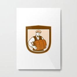 Bartender Carrying Keg Shield Retro Metal Print