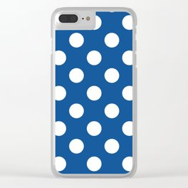 Yale Blue - blue - White Polka Dots - Pois Pattern Clear iPhone Case
