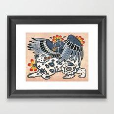 Golden Eagle, Jaguar, and Peyote Flowers Framed Art Print