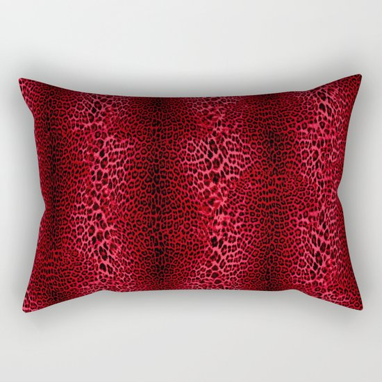Red Leopard Pattern V1 Rectangular Pillow