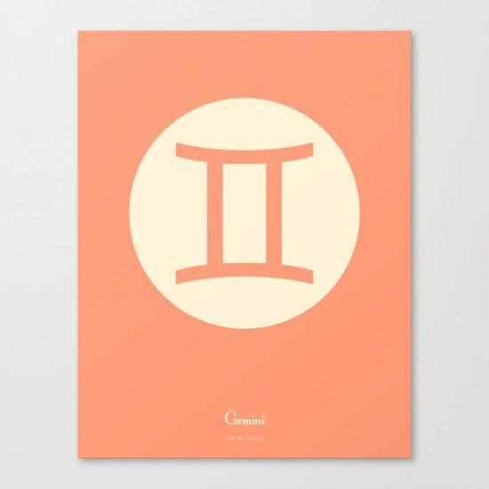 Gemini Symbol Pink Canvas Print