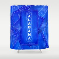 theatre Shower Curtains featuring Birmingham - Alabama Theatre Marquee Blueprints by Mark E Tisdale