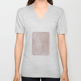 Dusty pink watercolor and arch Unisex V-Neck