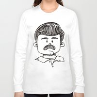 ron swanson Long Sleeve T-shirts featuring Ron Swanson by art by arielle